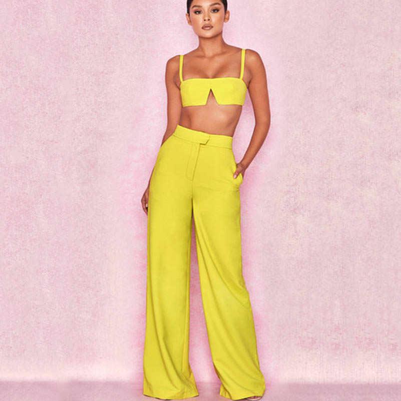 NiceMix 2019 mujeres Sexy tubo Tops Set Mini corte Slash cuello tanques Camis y holgado Casual pierna ancha pantalones de sudor juego de 2 piezas Trac
