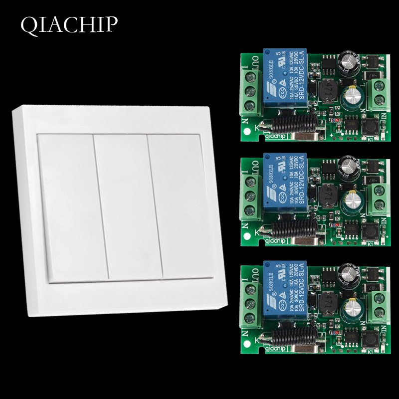 433Mhz Universal Wireless Remote Control Switch AC 110V 220V 1CH Relay Receiver and 433 Mhz Wall Panel Remote RF Transmitter