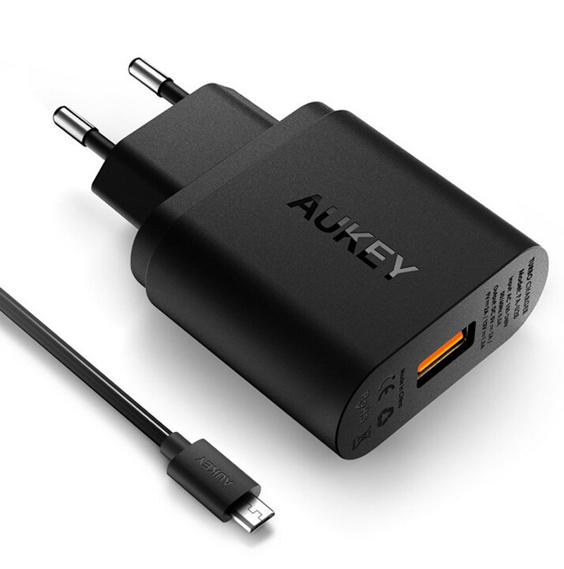 AUKEY Quick Charge 3.0 2.0 18W Phone Charger USB Wall Charger adapter For IPhone HTC Sony  HTC US/EU plug
