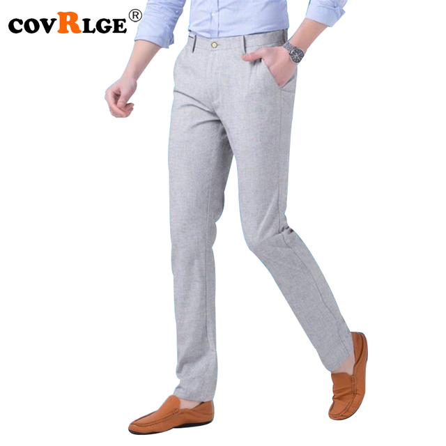 6e144af1ef5 Covrlge Men s Business Pants 2018 Summer Thin Man Linen Trousers Fashion  Solid Casual Slim Fit Pant Menswear Work Wear MKZ006