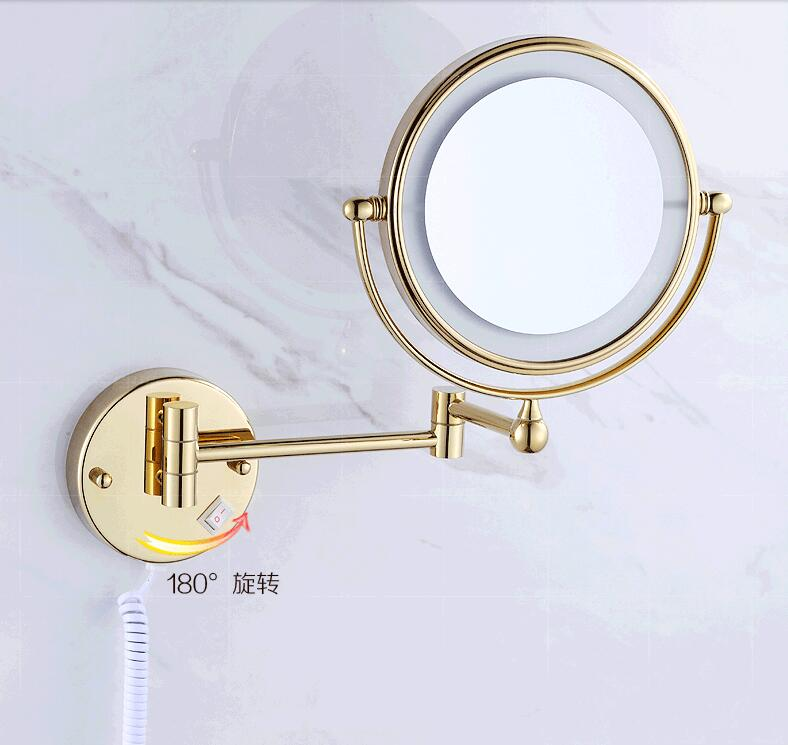 Bath Mirror Gold Wall Mounted 8 inch Brass 3X/1X Magnifying Mirror LED Light Folding Makeup Mirror Cosmetic Mirror Lady Gift afsel 7 inch makeup mirrors led wall mounted extending folding double side led light mirror 5x magnification bath toilet mirror