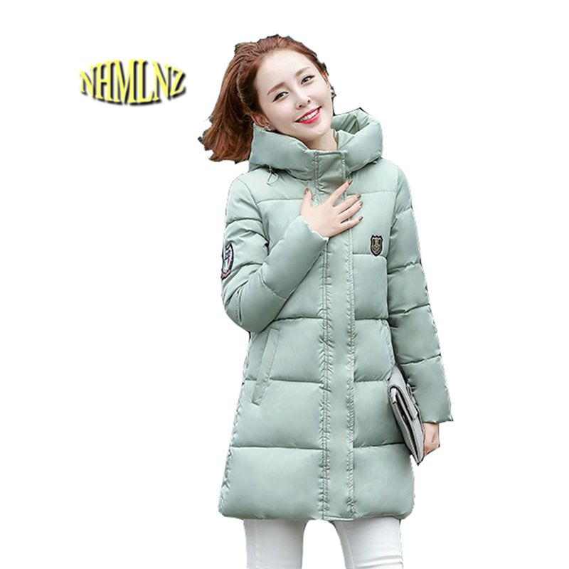 New Women Winter Jacket Thick Warm Cotton Down jacket Large size Slim Medium long Coat Students Ladies Leisure Outerwear G2833 winter women down jacket hooded thick warm cotton coat large size new style casual jacket slim long sleeve medium long coat 2580