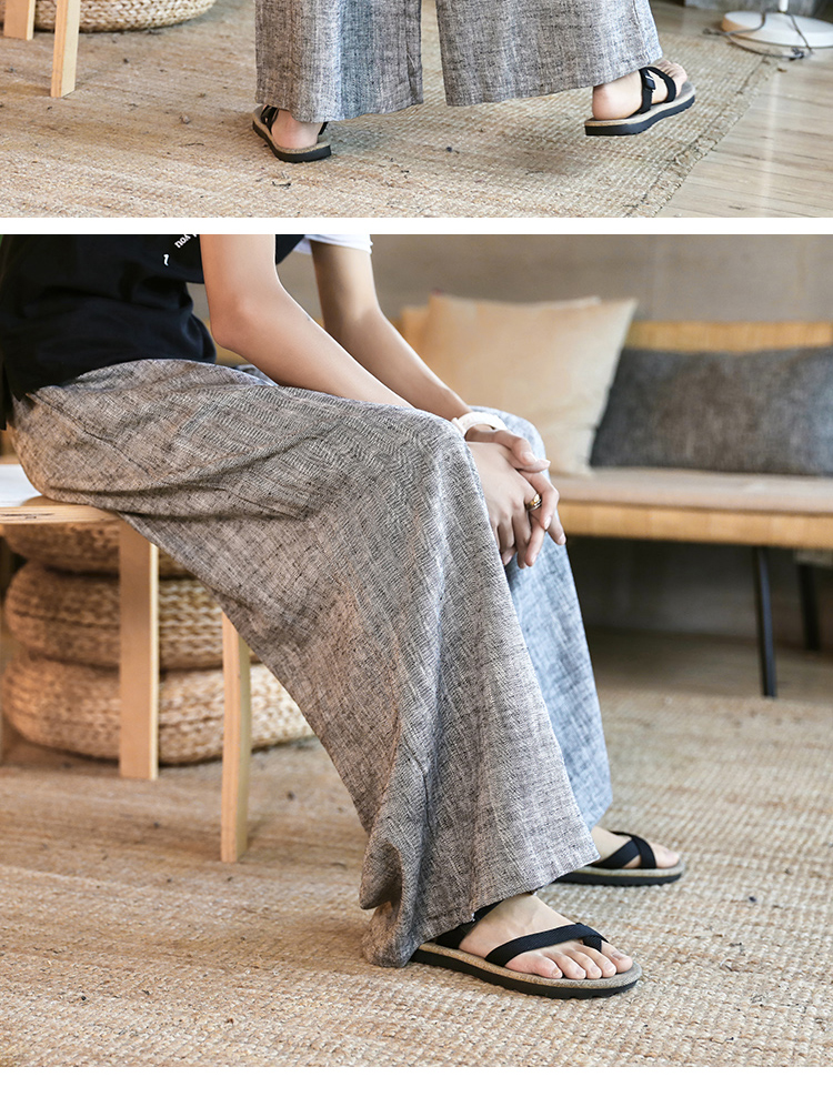 Sinicism Store Man Cotton Linen Wild Leg Pant Men Casual Stripe Straight Flare Trousers 2020 Male Traditional Pants Trousers 48
