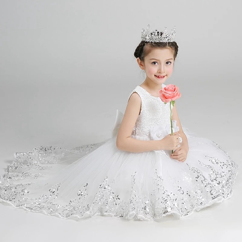 Children's Flower Girls Party Ball Gown Tutu Dress Kids Princess Sleeveless Sequined High Low Dresses vestido de festa infantil