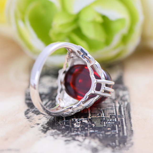 brixini.com - Natural Oval Garnet 925 Sterling Silver Rings