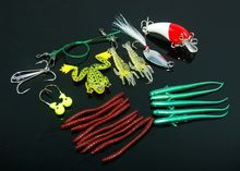 Single Tail Worm Soft Bait Fishing Lure Kit Crankbait Jig Head Frogs Spinner Hooks With Case
