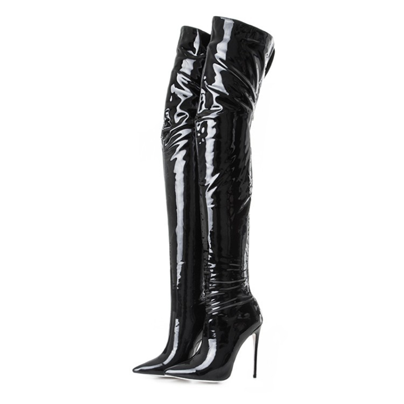 Brand High Heel Women Thigh boots Woman Shoes Pointed Toe Zipper Soft Black Pu Leather Patent Leather High Quality Handmade Boot in Over the Knee Boots from Shoes
