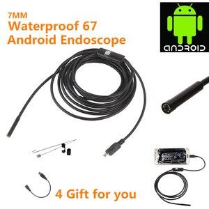 Image 1 - 7mm Inspektion Rohr 1 mt 2 mt Endoskop Wasserdichte Mini USB Kamera Schlange Rohr mit 6 LED Endoskop Für android Telefon PC Dropshipping