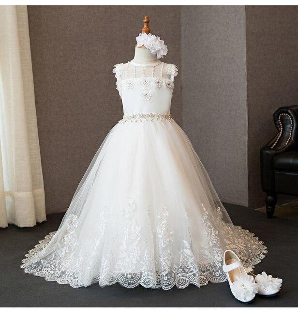 7898787cfa 2017 nowy gorący biała suknia balowa koralik aplikacje kwiat dziewczyna  sukienki pierwsza komunia sukienki dla dziewczynek
