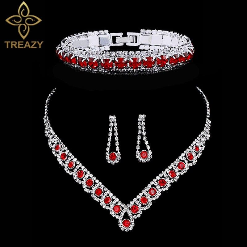 2019 Neuer Stil Treazy Elegante Rote Kristall Strass Hochzeit Schmuck-sets Für Frauen Halsband Halskette Ohrringe Armband Braut Schmuck Sets