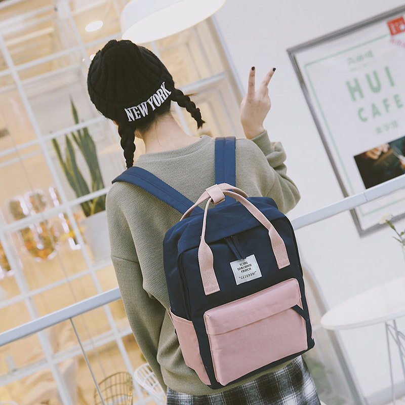 2018 Panelled Canvas Women Backpack School Bags New Backpack for Teenager Girls Fashion Mochilas Leisure Travel Backpack Bookbag