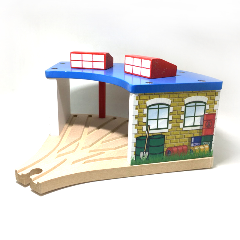 P116Wooden small train garage station room fit for Thomas train wood track bridge Thomas wood track scenes necessary accessories