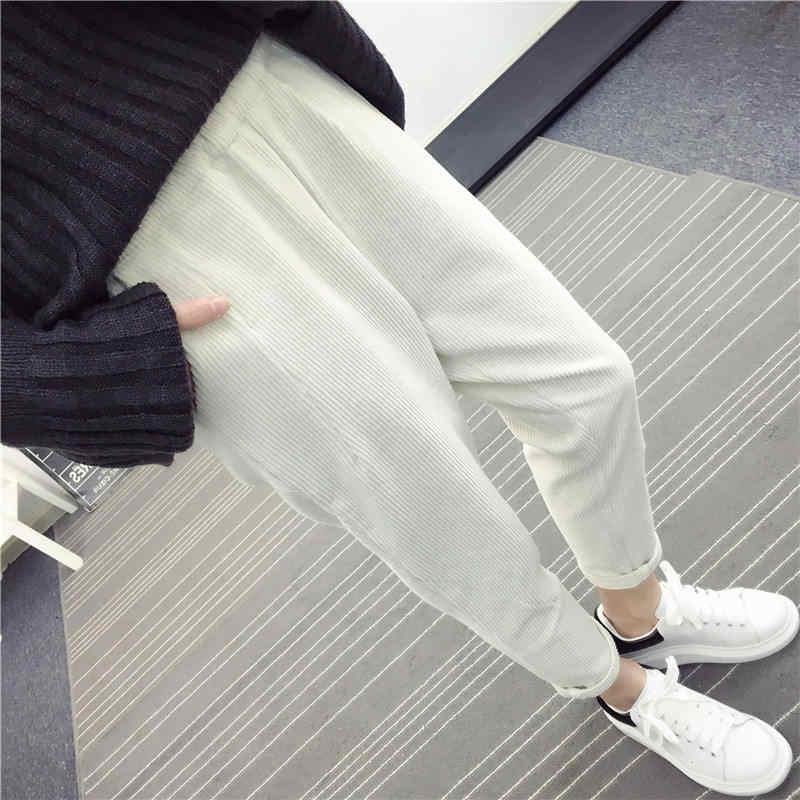 秋冬コーデュロイパンツ女性プラスサイズ 3XL 弾性ウエストハーレムパンツカジュアルコーデュロイのズボンの女性パンタロン Mujer C4856