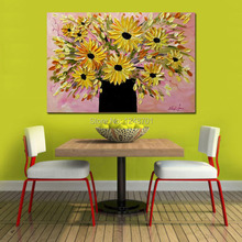Modern thick texture palette knife flower canvas oil painting yellow and pink color abstract home decoration art