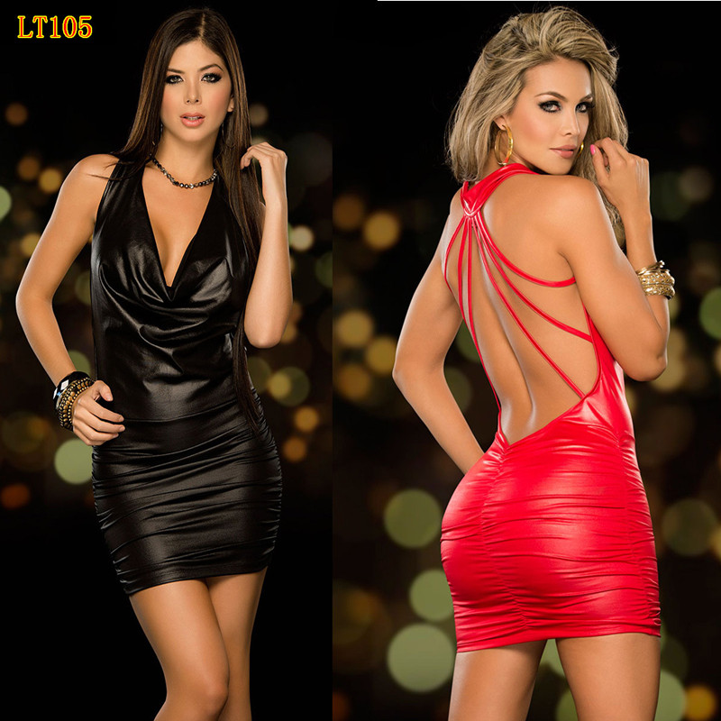 Sexy Backless PVC Club Kleid 2018 Schwarz Wet Look Fetisch Latex Bodycon Faux Leder Partei Catsuit Mini Micro Kleid Erotische trikot