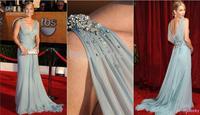 free shipping 2016 vestidos formales long Sexy Chiffon V neck christina applegate sage awards dress Evening Celebrity Dresses