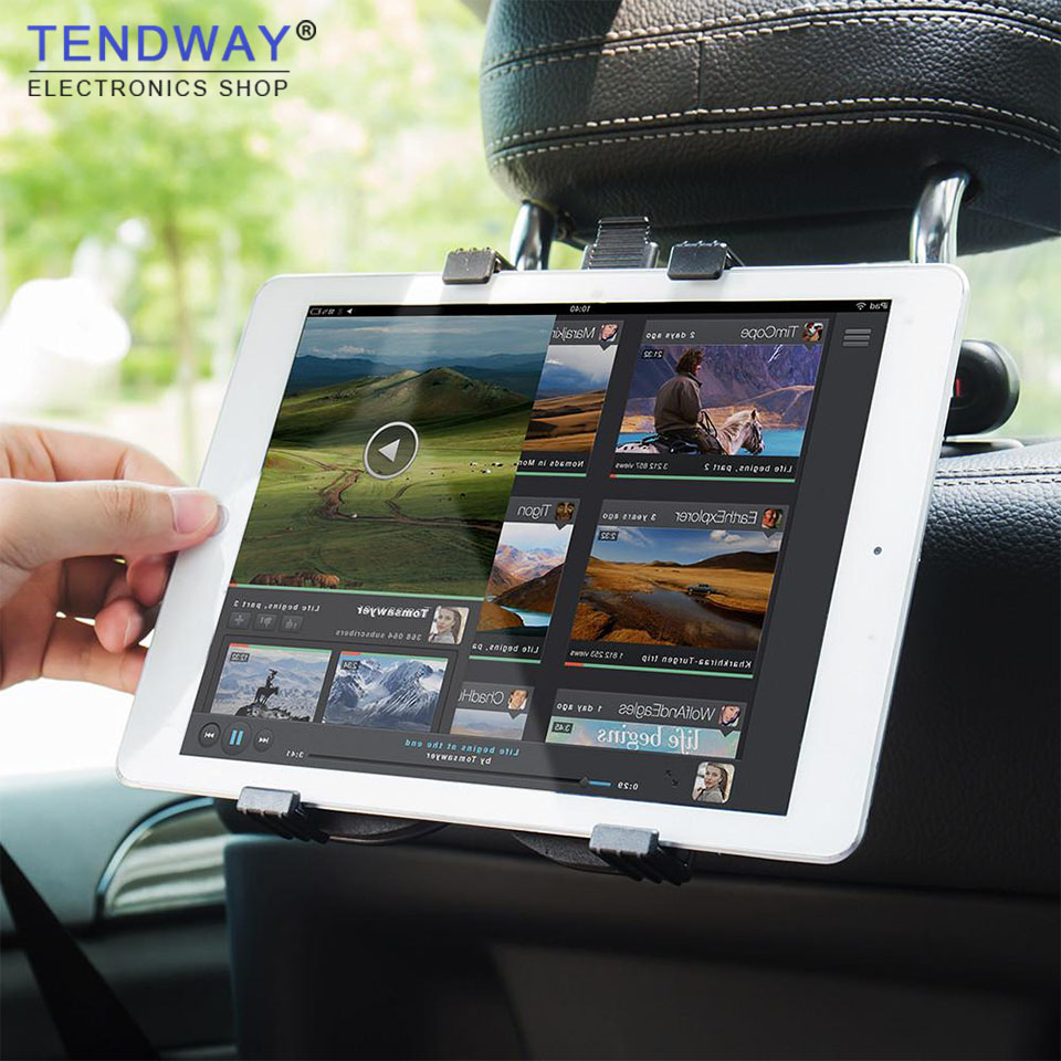 Tendway Tablet Car Holder Stand for Ipad 2/3/4 Air Pro Mini 7-11' Universal 360 Rotation Bracket Back Seat Car Mount Handrest PC m08 360 degree rotation scooter bracket w c60 back clamp for 7 10 inch tablet pc black