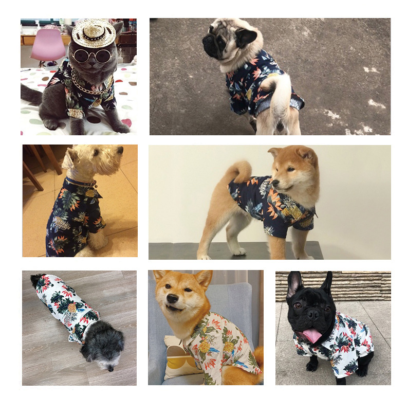 Dog Shirts Cotton Spring Summer Pet Clothes Thin Breathable Beach Hawaiian T Shirt For Small Dogs Chihuahua Poodle Cats Vests (4)