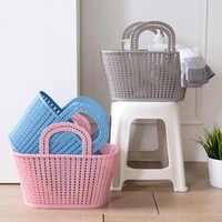 Cesta de almacenamiento para baño para el hogar duradero organizador de almacenamiento de maquillaje cosmético cesta de ropa de ratán plástico suministro de baño