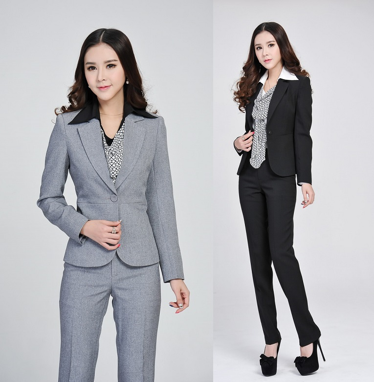 Home Affaire Collection Formal Elegant Grey Uniform Design Female Office Suits