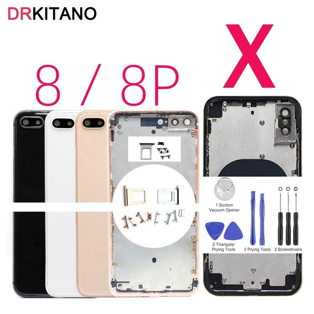 new style 23167 0e041 For Apple iPhone X Back Housing Battery Cover For iPhone 8 Rear Door Case  For iPhone X Back Housing Middle Chassis Body Replace-in Mobile Phone ...