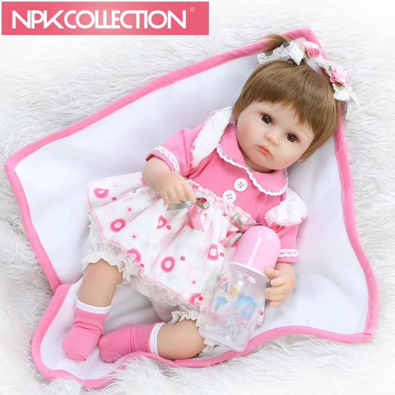 Can Sit And Lie 17 Inch Reborn Newborn Baby Doll Soft Silicone Realistic Alive Princess Babies Kids Birthday Christmas Gift silicone soft 22 inch reborn baby doll girl realistic newborn princess babies with blue eyes kids birthday christmas gift