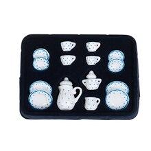 15Pcs 1/12 Dollhouse Miniature Blue Flower Patten Porcelain Coffee Tea Cups Ceramic Tableware Dollhouse Kitchen Accessories