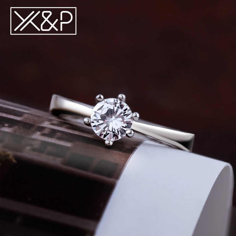 X & P, модные классические обручальные кольца с 6 когтями AAA, белым кубическим цирконием для женщин, женские Свадебные обручальные кольца, женские кольца, ювелирные изделия 2019