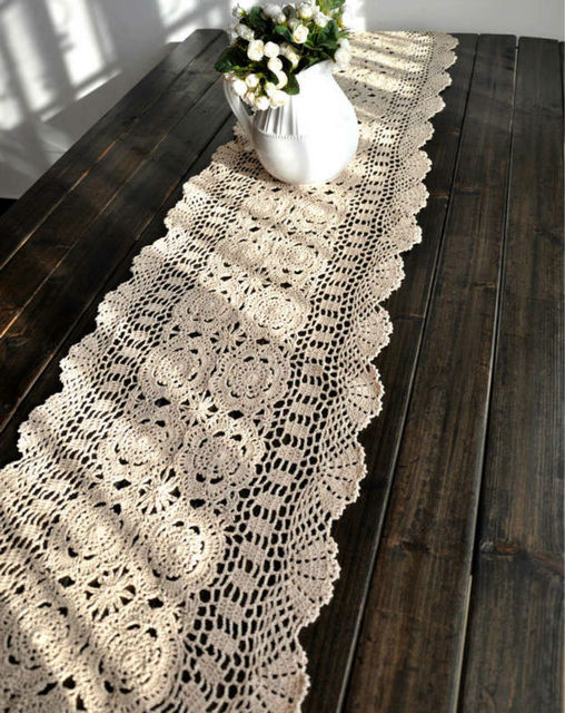 """40x150cm/15""""X59"""" Inches, wholesale vintage hand crocheted table linens runners, beige color,  Free shipping!!!"""