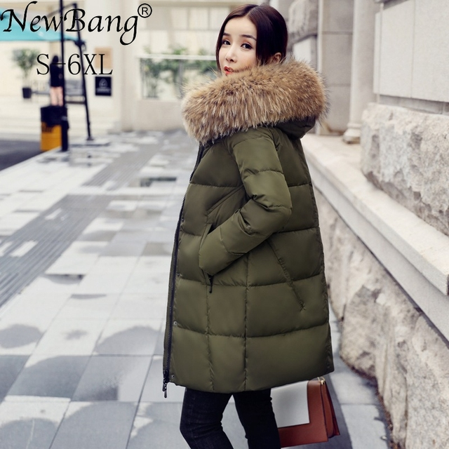 NewBang 5XL Winter Jacket Women Feather Parka Real Raccoon Fur ...