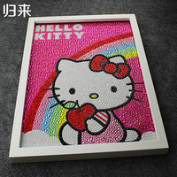 Hello Kitty Rainbow Painting Diy 5D Diamond Painting Hello Kitty Full Embroidery Round Diamond Rhinestone 30