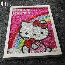 Hello Kitty Cầu Vồng Sơn Tự Làm Bức Tranh Kim Cương 5D Hello Kitty Đầy Đủ Thêu Vòng Kim Cương Rhinestone 30*40 cm Trẻ Em quà tặng