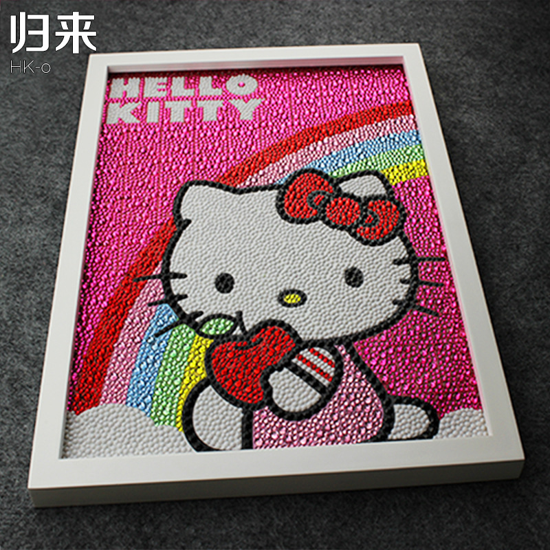Hello Kitty Rainbow Painting Diy 5D Diamond Painting Hello Kitty Fullbroderi Round Diamond Rhinestone 30 * 40cm Children Gifts