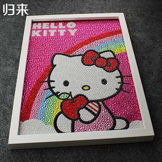 e42ad9084 Hello Kitty Rainbow Painting Diy 5D Diamond Painting Hello Kitty Full  Embroidery Round Diamond Rhinestone 30*40cm Children Gifts