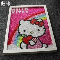 Olá Kitty Arco Íris Pintura Diy 5D Diamante Pintura Olá Kitty Bordado Cheio de Strass Diamante Redondo de 30*40 cm Crianças presentes