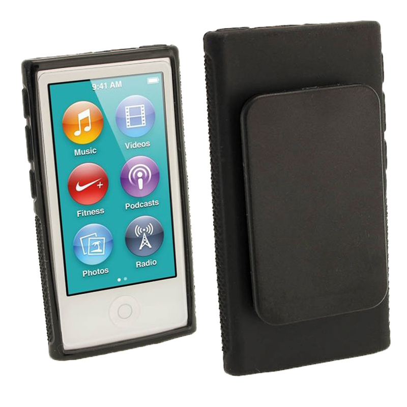 Hybrid TPU Silicone Case For Apple iPod Nano 7 protection cases 7th Generation Nano7 7G Cover Coques fundas with Belt Clip Black-in MP3/MP4 Bags & Cases from Consumer Electronics