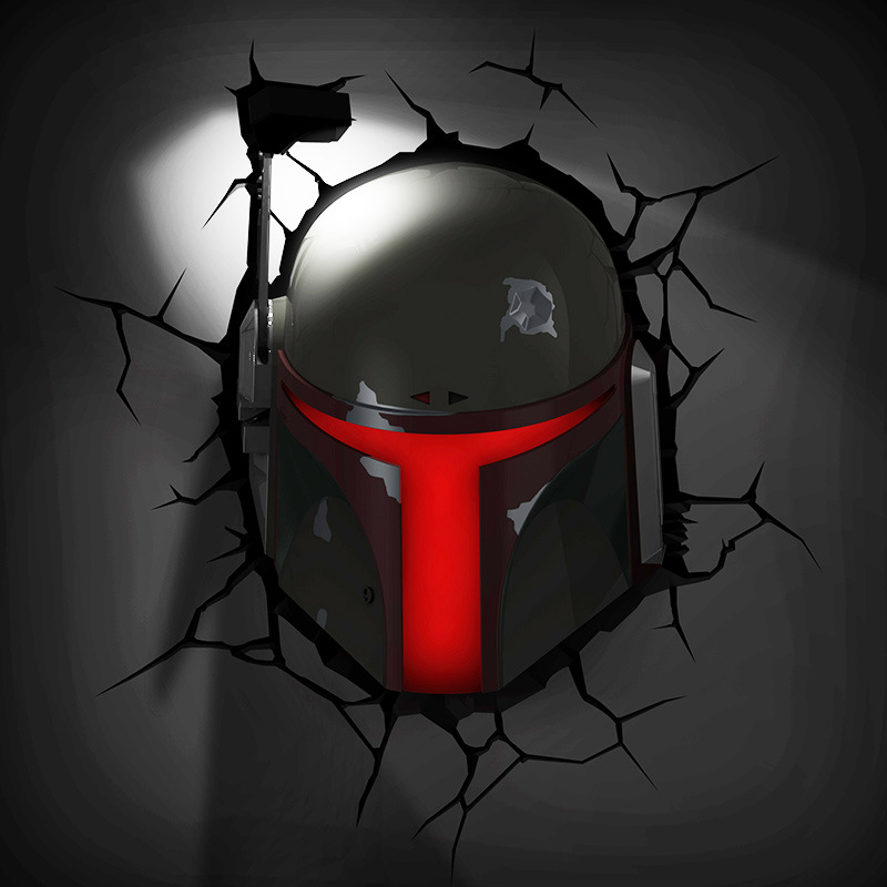 [Funny] Creative Star Wars Boba Fett helmet figures model 3D Wall Lamp Unique LED light lamp Ornament Home room decorations gift стоимость