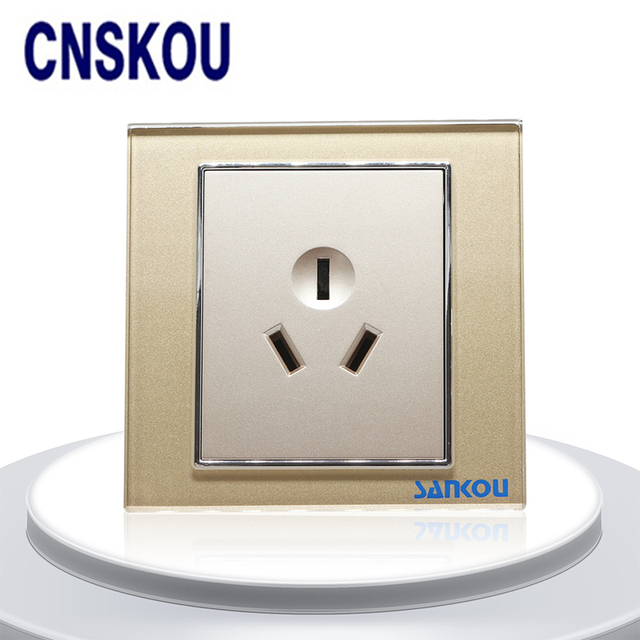 Cnskou CN Standard 16A Wall Outlet 3Pin Panel Socket Golden Crystal ...
