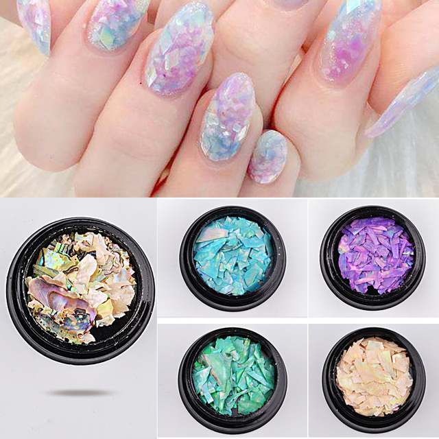 1 Box Natural Pearl Nail Seashell Slices Particle Crushed Shell Charm Manicure Art Glitter