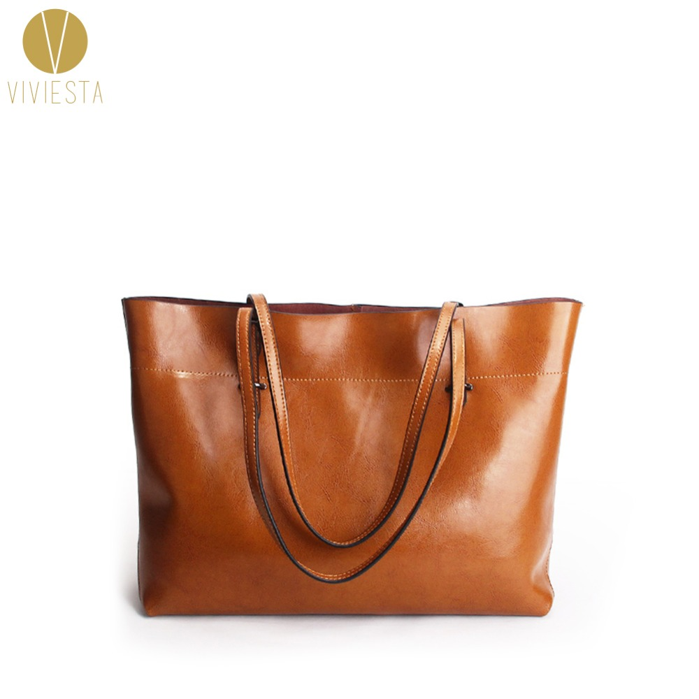 WAXED LEATHER LARGE TOTE - Womens Genuine Real Skin Casual Simple Design Shopping Shoulder Bag Handbag Wholesale High Quality