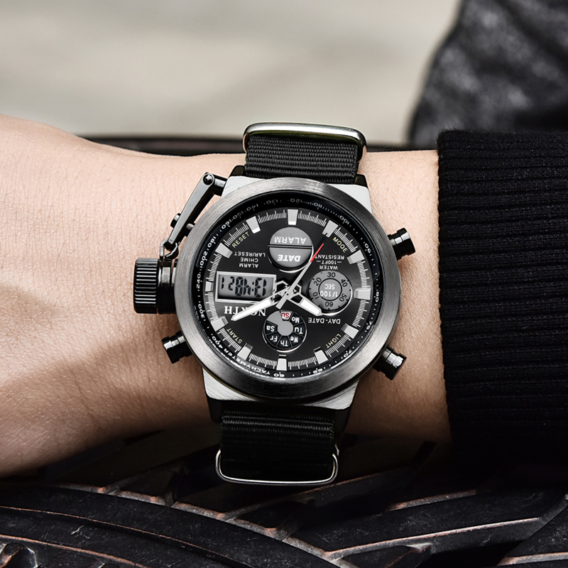 NORTH Sport Watch Men Military Quartz Watches For Men Analog LED Digital Leather Nylon Men Watches Casual Waterproof Wristwatch 5