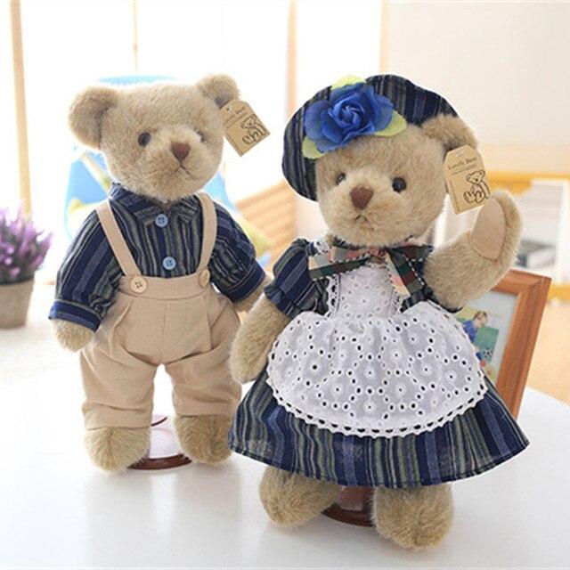 55380788a النبيل الكلاسيكية زوجين دمية دب في الأزرق الملابس القطيفة دمى الدببة عشاق  الأصدقاء الاطفال هدية 1