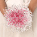 Hand Made Top quality beaded Brooch Flower bride Bridal wedding bouquet Acrylic Crystal bridesmaid  Artificial flower 8526s