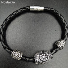 Nostalgia Viking Jewelry Vegvisir Slavic Kolovrat Compass Runes Beads Magnetic Bracelet Vikingos Accessories Mens Womens Bangle