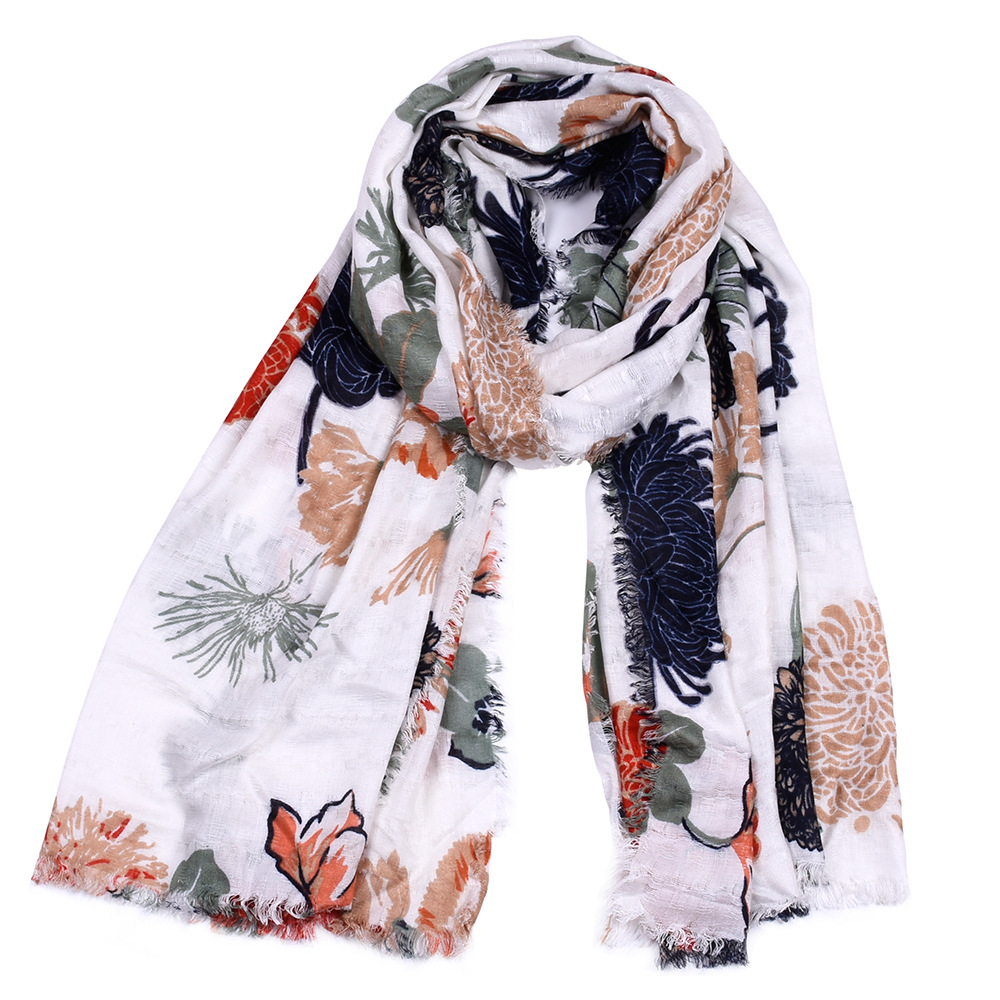 2019 Newest Cotton Blossom Flower Gold Foil   Scarves   Shawls Muslim Floral Fringe   Scarf     Wrap   Hijab Muffler 10pcs/LOT Free Shipping