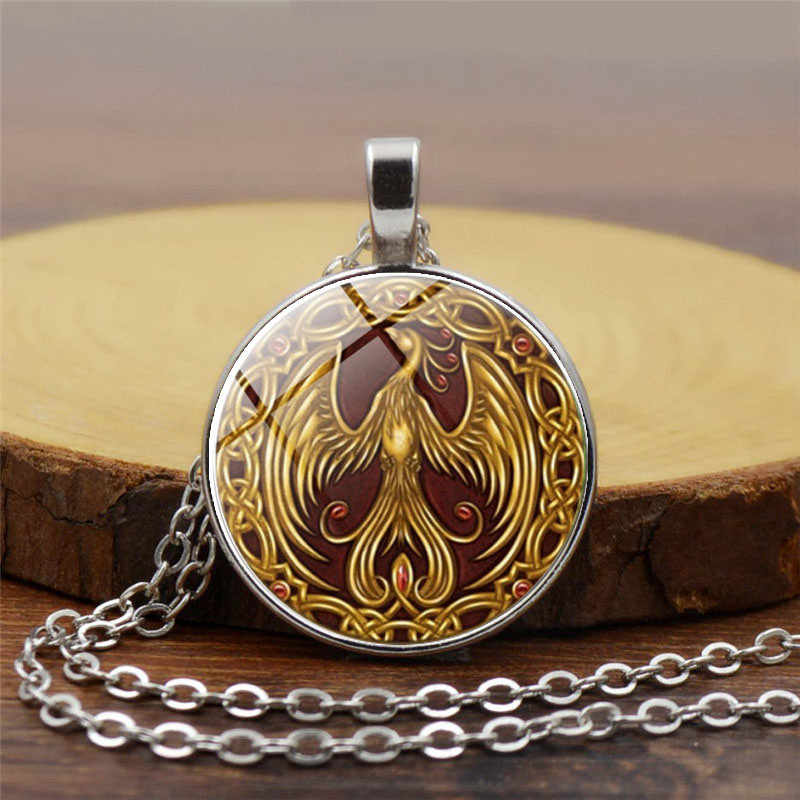 Glass Necklace Phoenix Glass Necklace golden bird photo pendant anlmal jewelry pendant Glass Cabochon Necklace