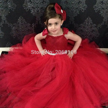 Spaghetti Straps Ball Gown Tulle With Bow Lace Up Red Flower Girl Dresses First Communion Dresses