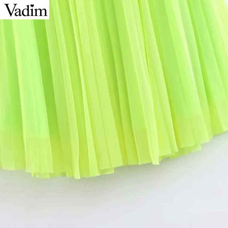 Вадим женщин флуоресценции зеленая, сетчатая миди плиссированная юбка mujer с эластичной талией Повседневный шик женские блестящие до середины икры юбки BA497