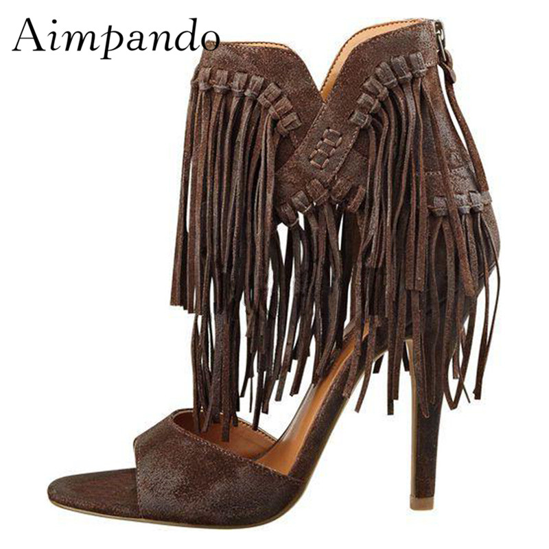 2019 Chic Tassel Gladiator Sandals Women Open Toe Fringe Ankle Strap High Heel Shoes Woman Sexy Party Shoes 2019 Chic Tassel Gladiator Sandals Women Open Toe Fringe Ankle Strap High Heel Shoes Woman Sexy Party Shoes