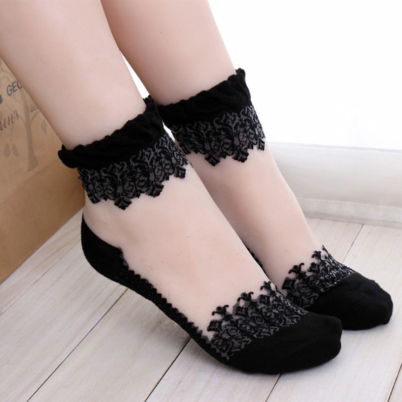 1Pair Women Lace Ruffle Ankle   Sock   Soft Comfy Sheer Silk Cotton Elastic Mesh Knit Frill Trim Transparent Women's   socks   W715